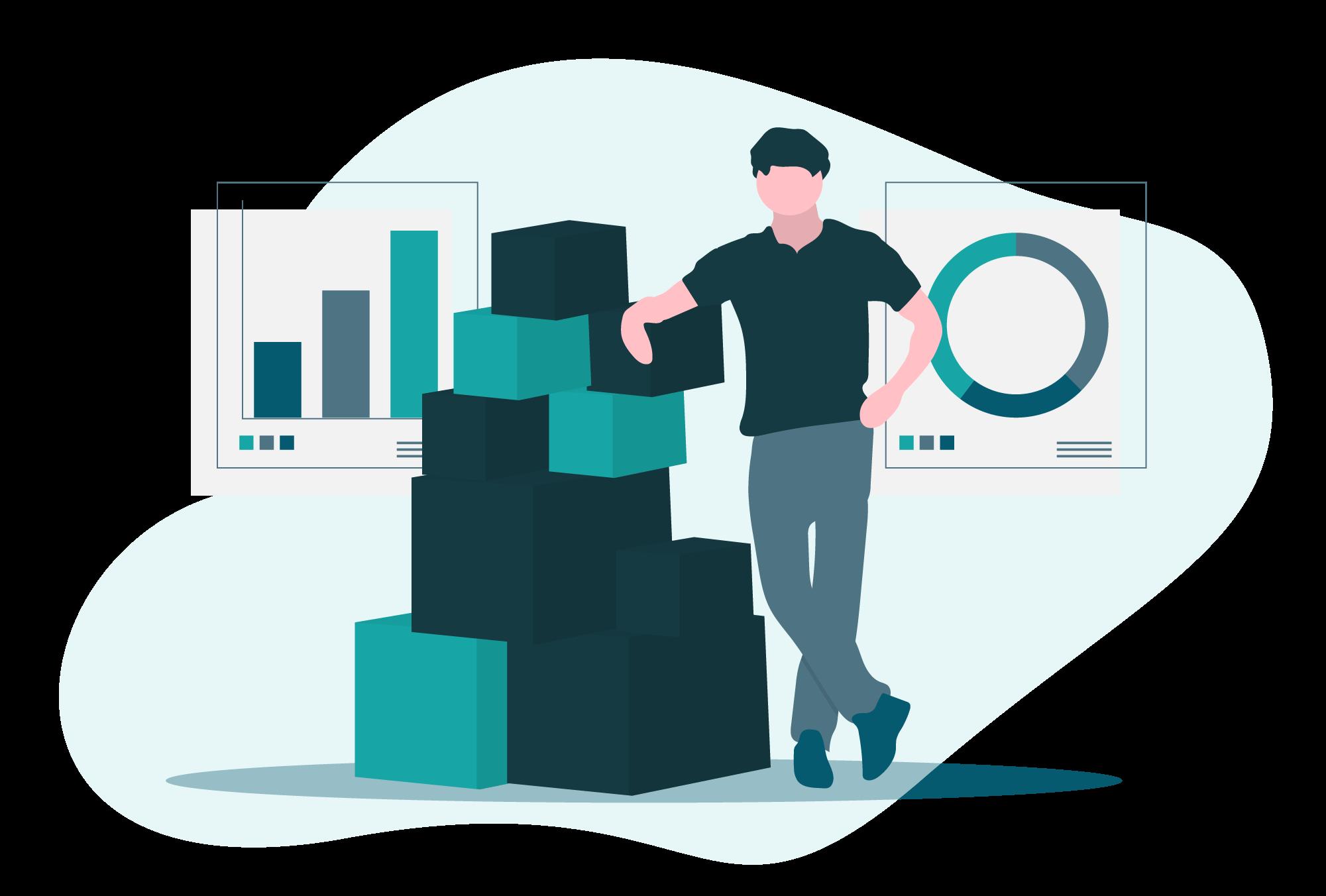 Le vendeur gère ses stocks - Eskemm - Illustration